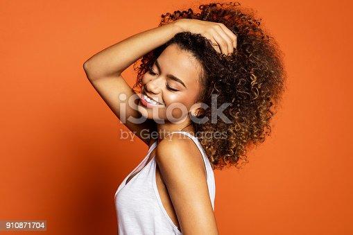 istock Beautiful african american female model 910871704
