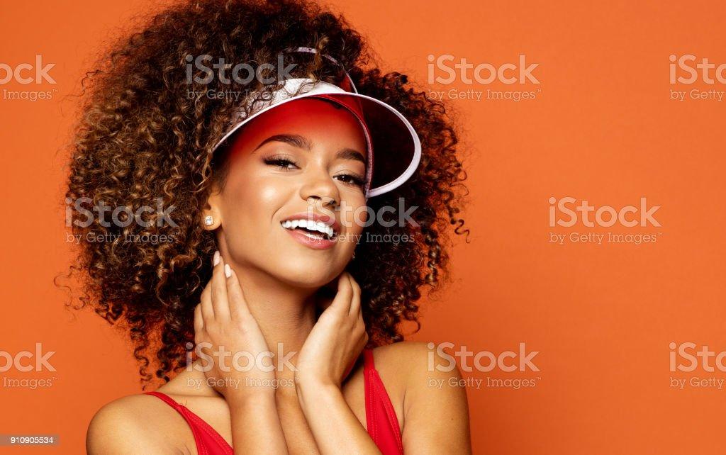 Portrait of beautiful smiling african american female model