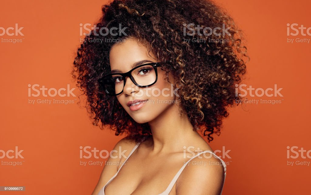 Beauty portrait of black woman face with natural skin