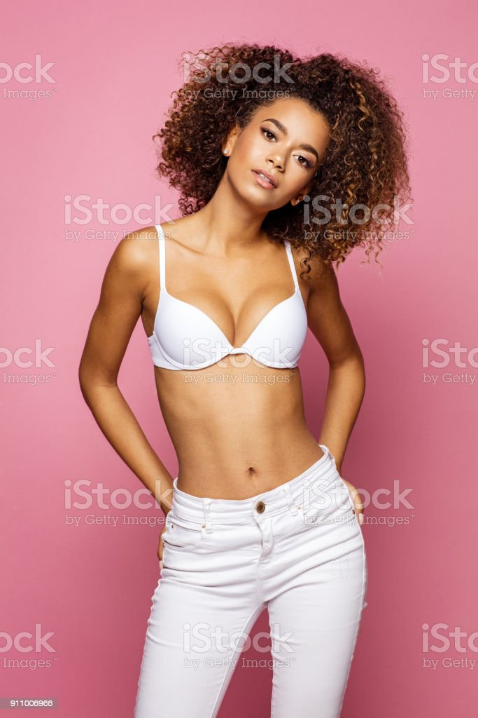 Beautiful african american female model stock photo