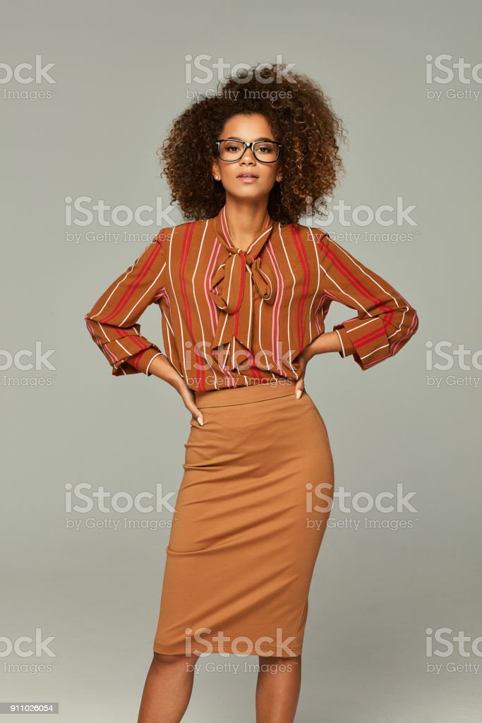 Beautiful african american female model stock photo