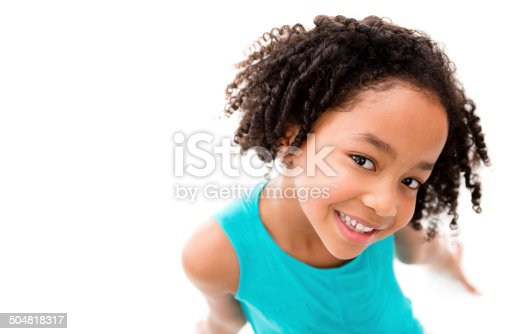 Beautiful African American girl smiling - isolated over white