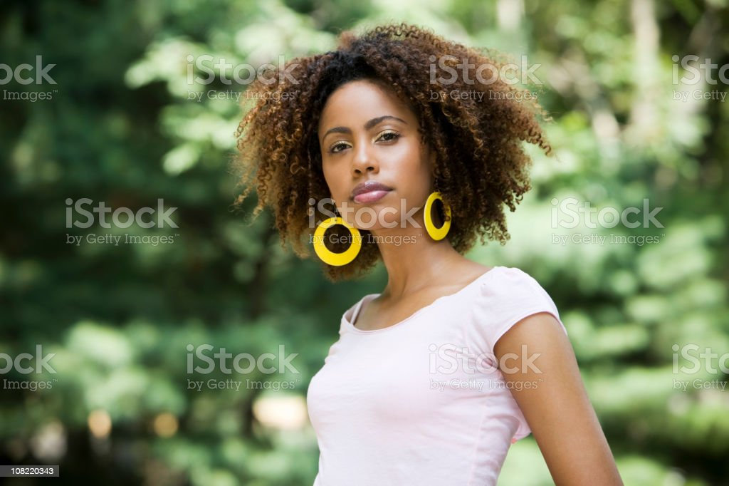 African American Beautiful Woman with Curly Hair, Copy Space royalty-free stock photo