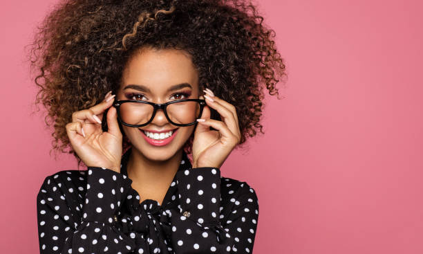 beautiful african american model - spectacles stock photos and pictures