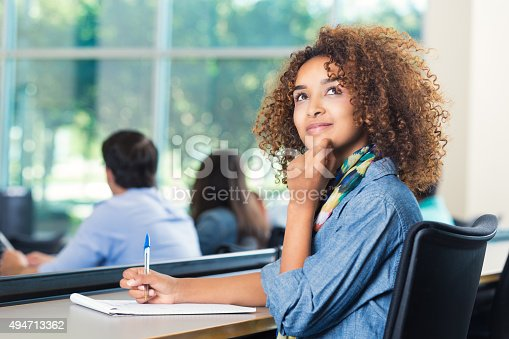 istock Beautiful African American student thinking during test 494713362