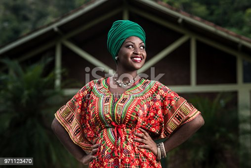 Beautiful african american woman in typical african clothing.