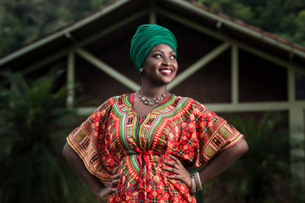 Beautiful african american woman in typical afro clothing stock photo