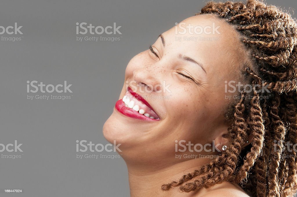 Beautiful African American Woman Laughing royalty-free stock photo