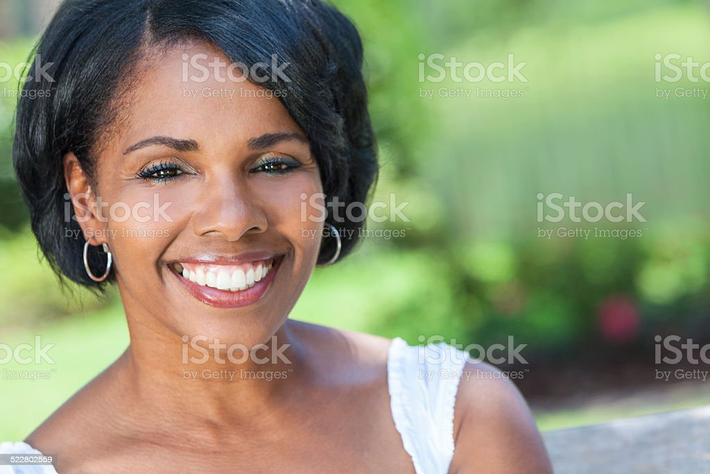Beautiful African American Woman Outdoor Portrait stock photo