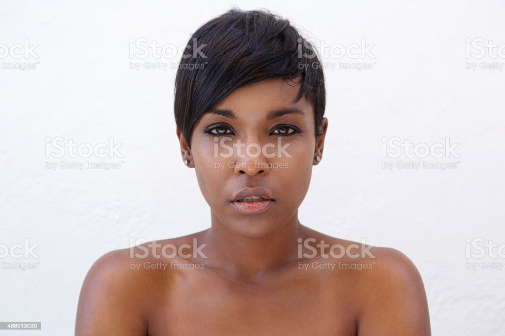 Beautiful african american woman with modern hairstyle stock photo