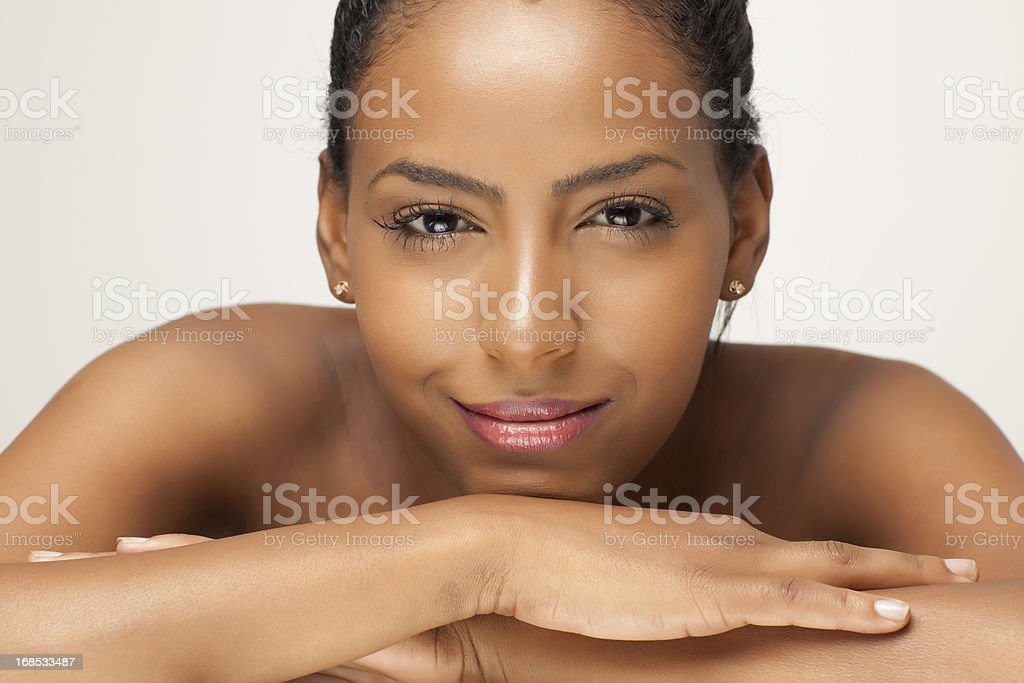 Beautiful african woman face stock photo