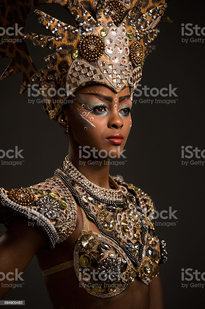Beautiful african woman wearing carnival dress stock photo