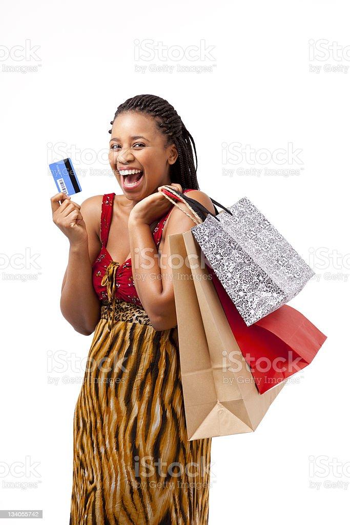 Beautiful African women shopping stock photo