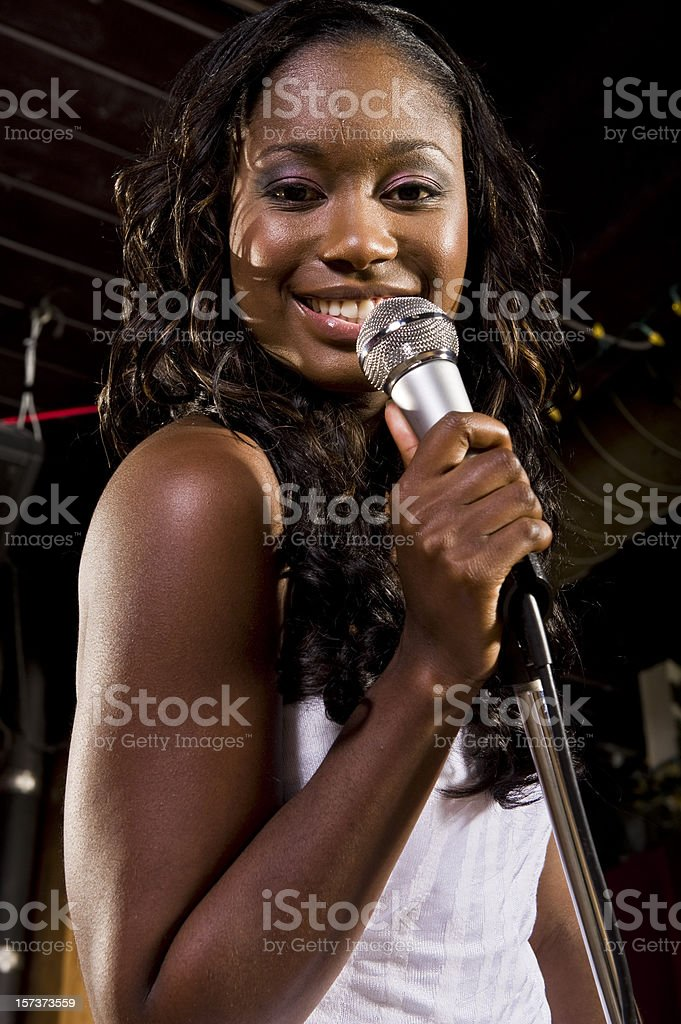 Beautiful African-American Woman Blues Singer stock photo