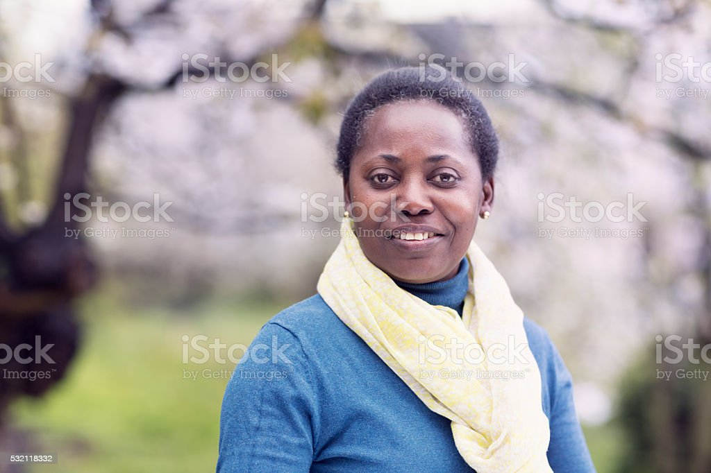 Beautiful afro american mature woman portrait stock photo