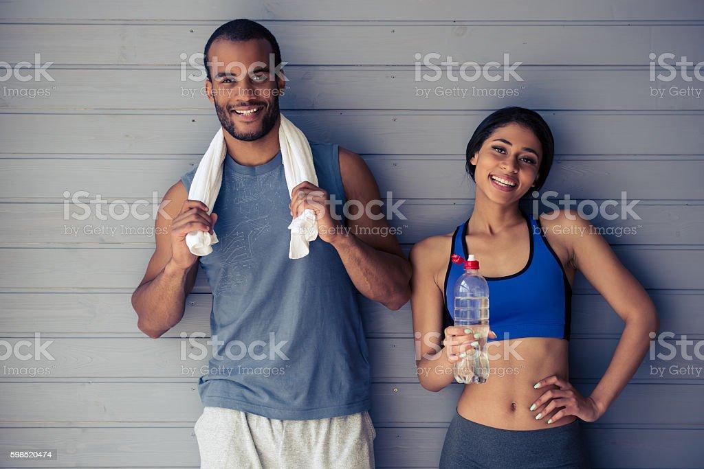 Beautiful Afro American sports couple stock photo