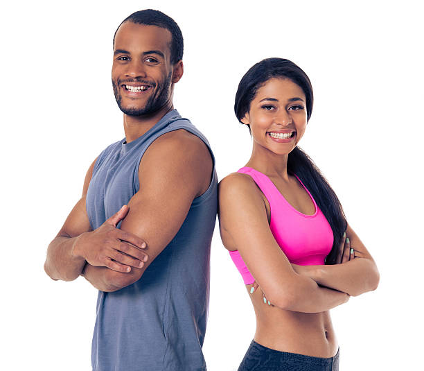 Beautiful Afro American sports couple stock photo
