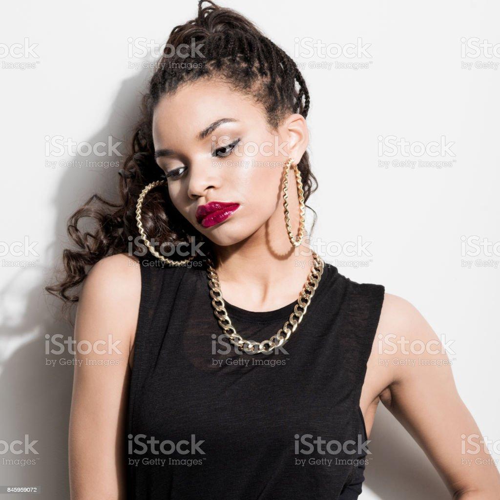Beautiful afro american young woman stock photo