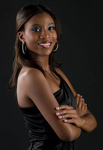 Beautiful afro caribbean young girl stock photo
