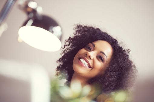 Beautiful Afro Young Woman Smiling Stock Photo - Download Image Now