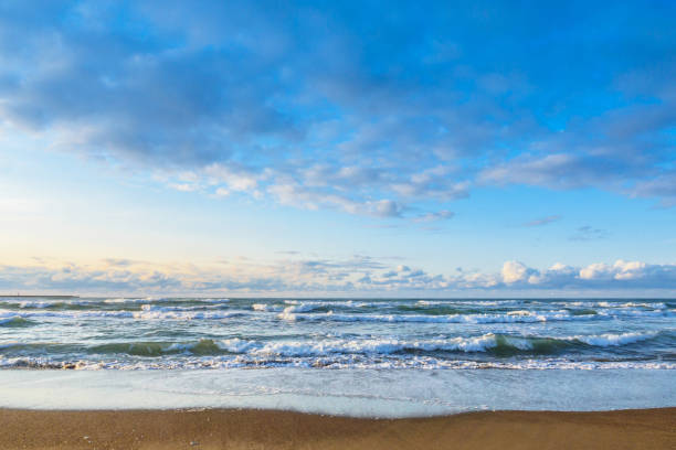 Beautiful afternoon ocean Beautiful afternoon ocean in Kanazawa, Japan sentimentality stock pictures, royalty-free photos & images