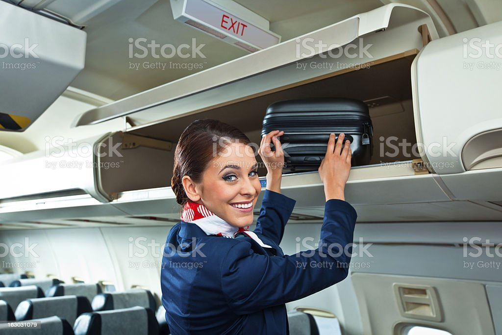 Beautiful air stewardess stock photo