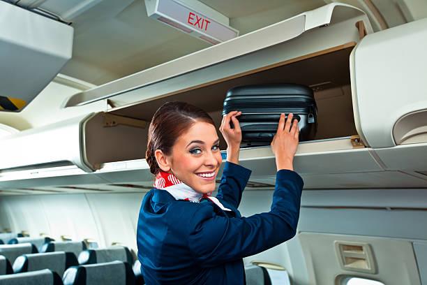 Beautiful air stewardess stock photo