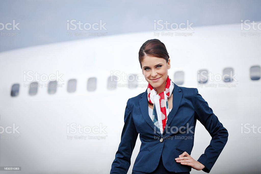 Beautiful air stewardess royalty-free stock photo