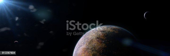 istock beautiful alien planet with moons lit by a bright star 912267604
