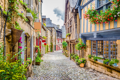 Beautiful alley in an old town in Europe
