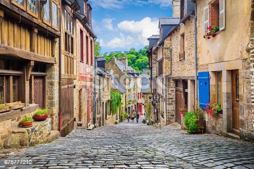 istock Beautiful alley in an old town in Europe 675777212