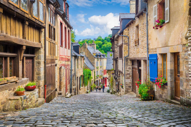 beautiful alley in an old town in europe - european culture stock photos and pictures