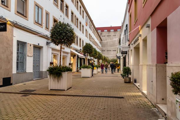 Beautiful alley in Jorge Juan Street in Madrid stock photo