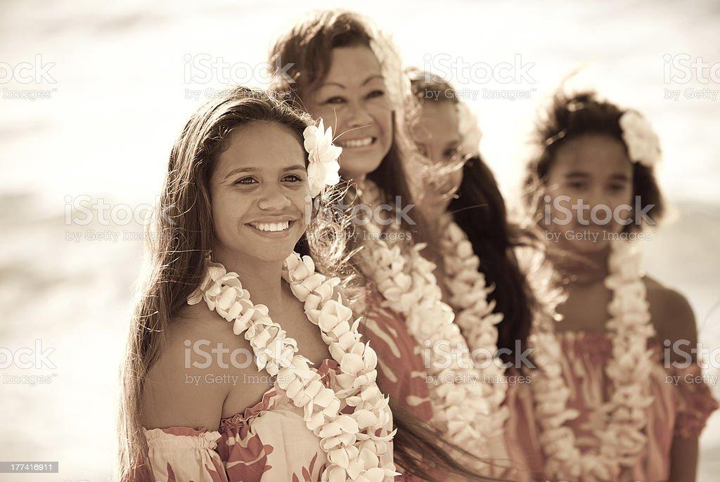 Beautiful Aloha Dancers stock photo
