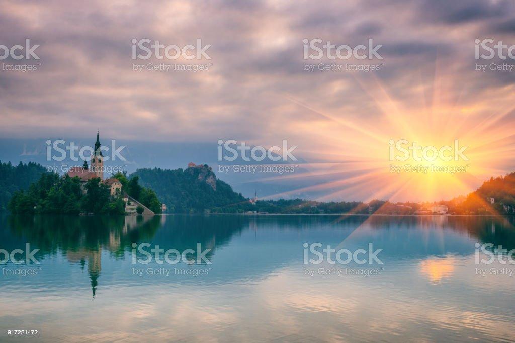 Beau lac alpin, nature paysage, Alpes, Bled, Slovénie - Photo