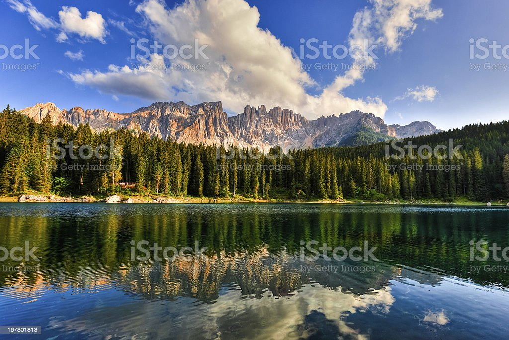 Beautiful Alpine Lake Reflection at Sunset, Dolomites, Italy stock photo