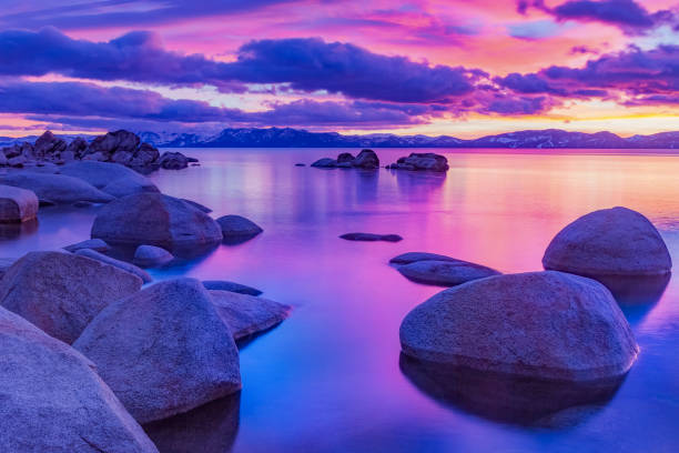 Beautiful Alpine Lake Tahoe in California stock photo