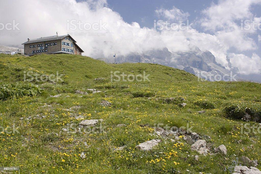Beautiful  alpine landscape with hotel stock photo