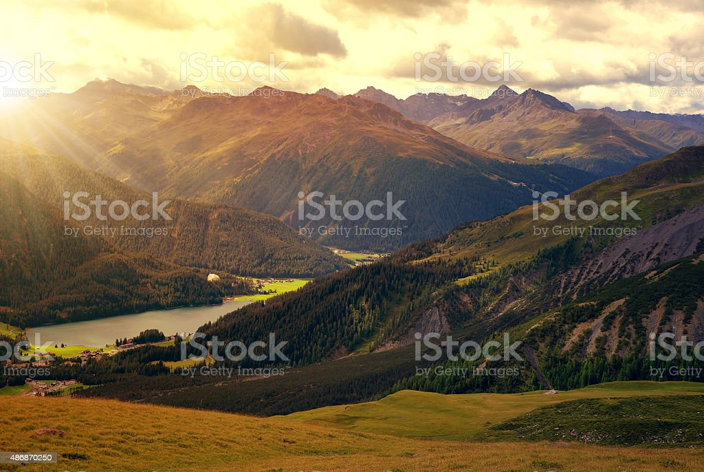 Beautiful alpine landscape with views of the lake Davos stock photo