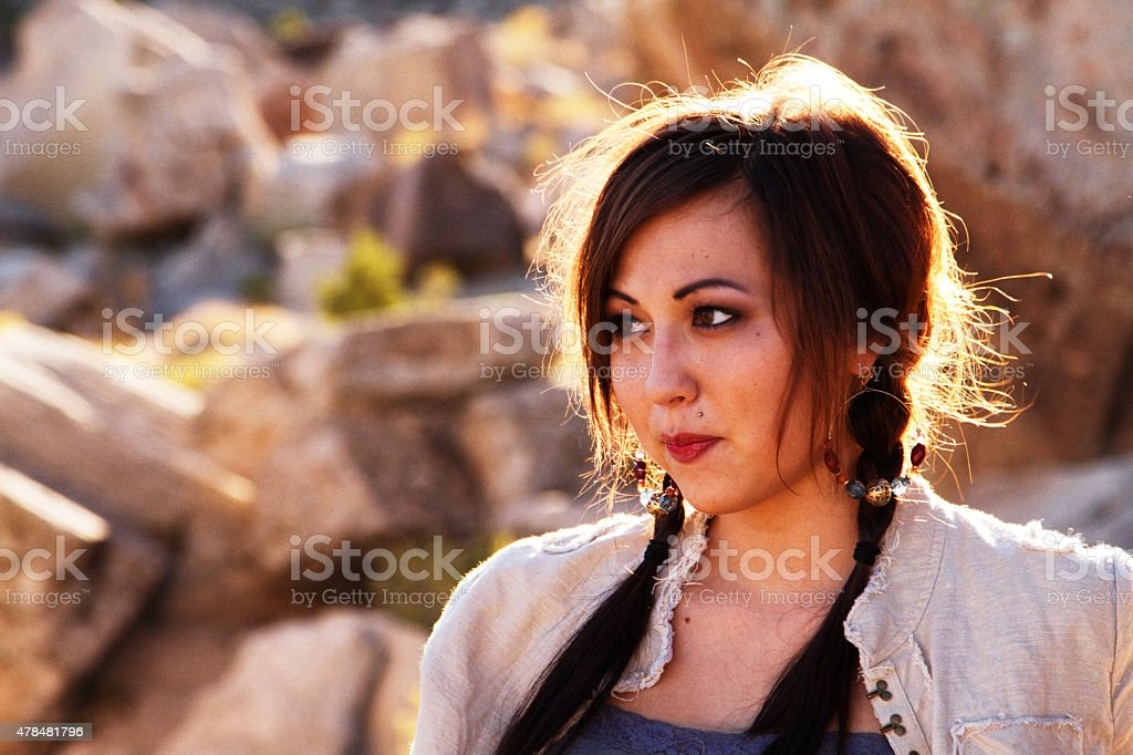 Beautiful American Indian Girl Portrait stock photo