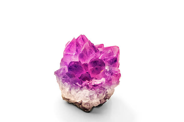 Beautiful amethyst druse close-up on white background -violet va stock photo