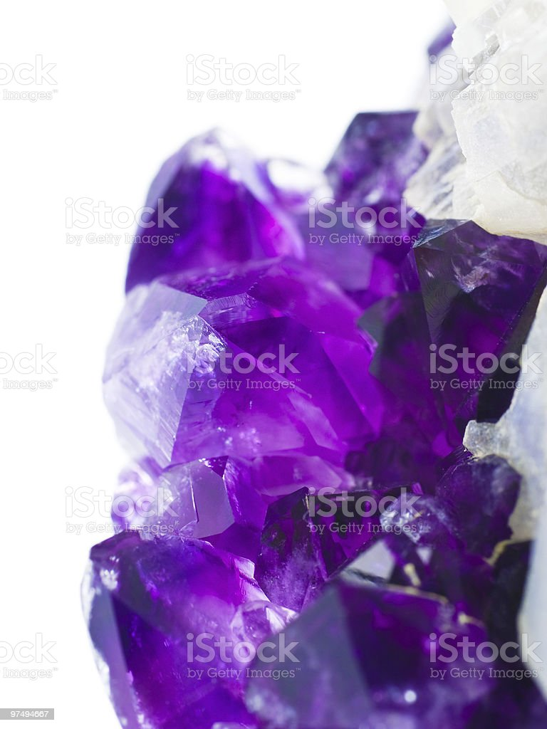 Beautiful amethyst druse on white close-up royalty-free stock photo