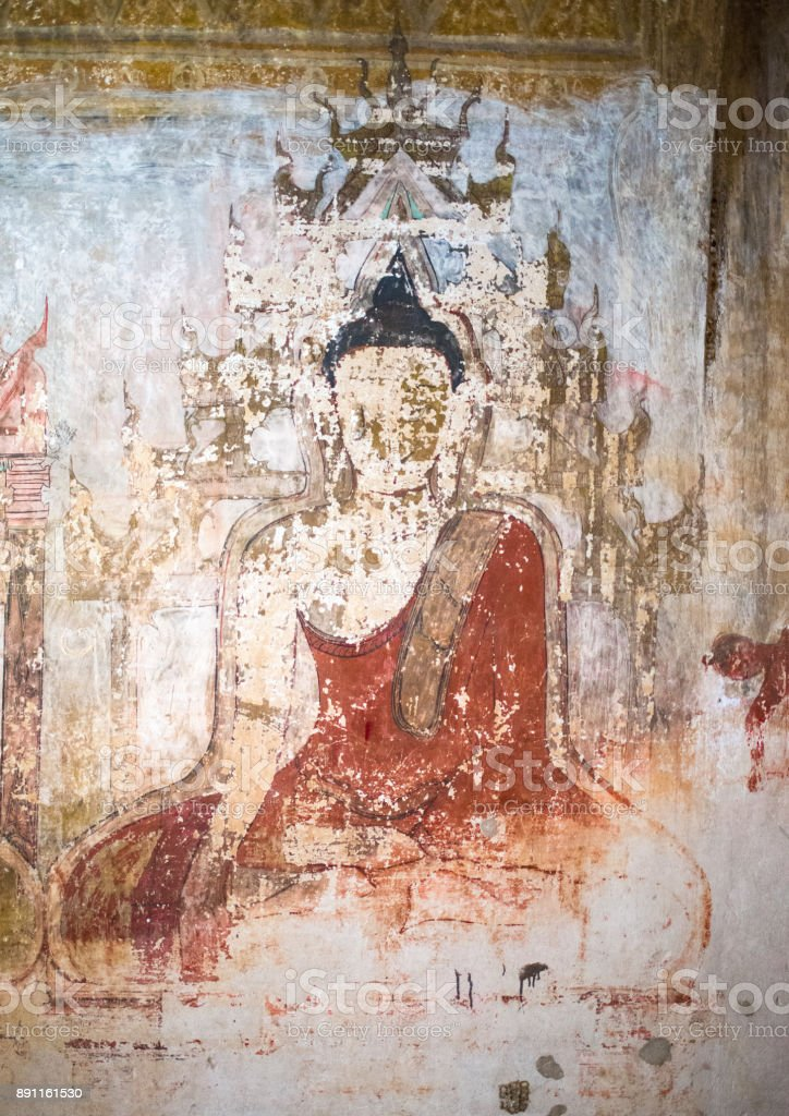 Beautiful ancient Buddha painting in a Burmese mural inside the Sulamani Temple stock photo