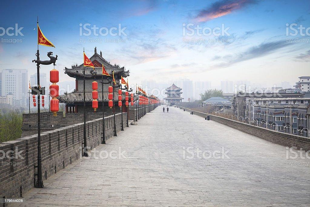 beautiful ancient city of xian at dusk stock photo