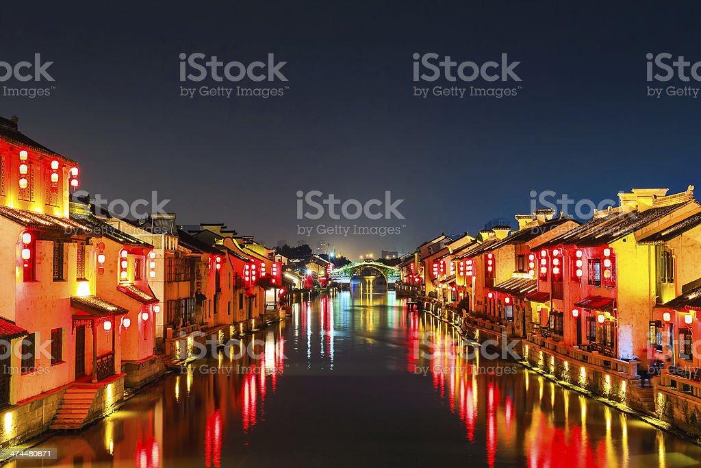 beautiful ancient town at night royalty-free stock photo