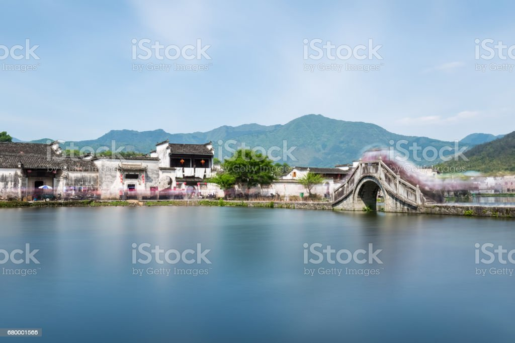 beautiful ancient villages in southern anhui stock photo