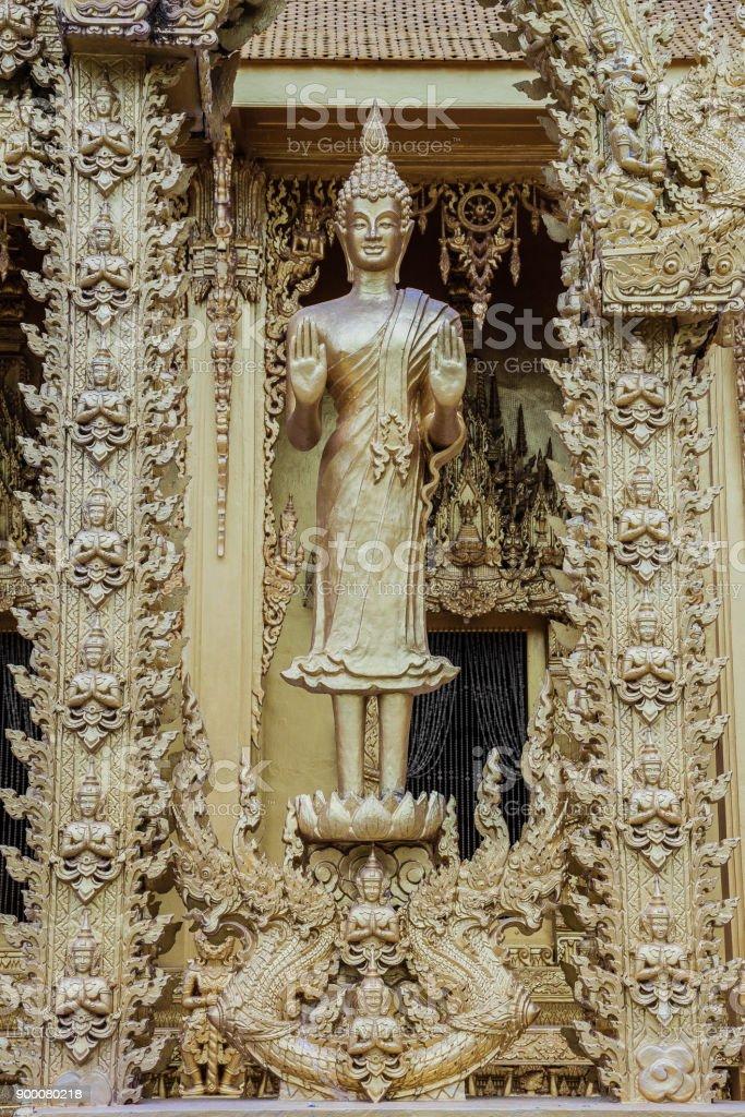 Beautiful and Amazing Golden Buddhist temple  at Wat Paknam Jolo , Bangkla , Chachoengsao , Thailand stock photo