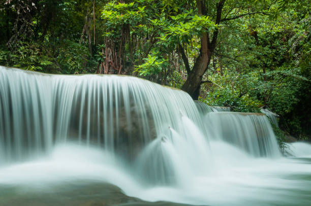 beautiful and breathtaking green waterfall at the tropical rain forest - dazzlingly stock pictures, royalty-free photos & images