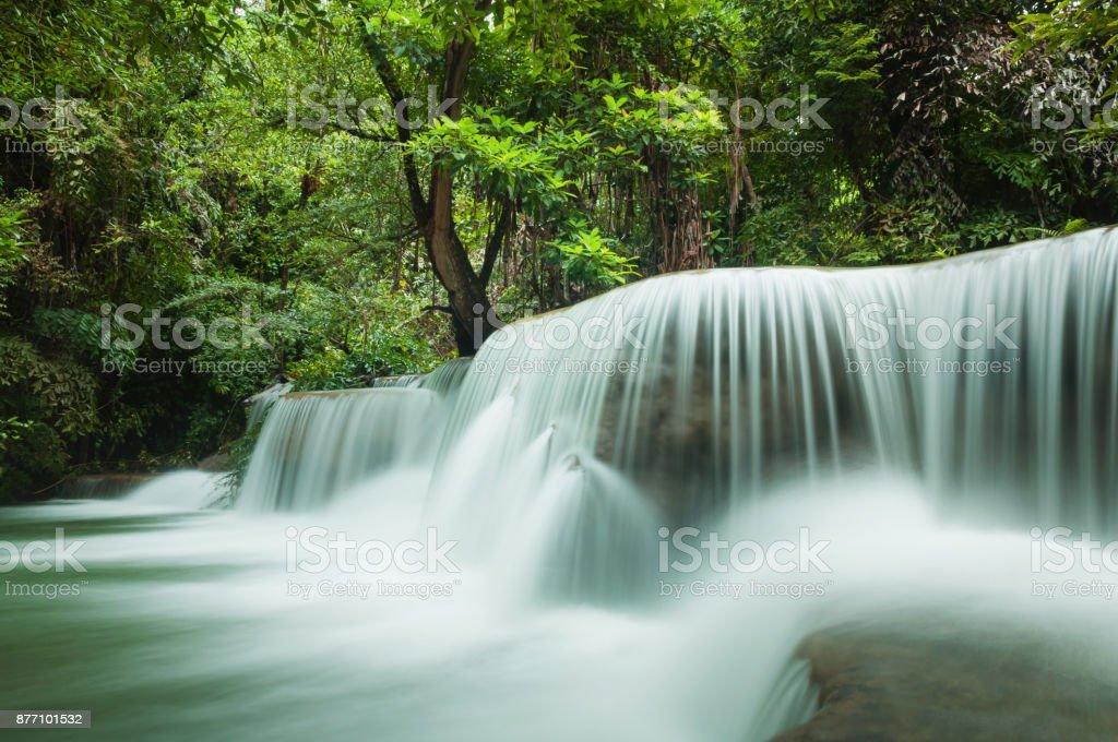 Beautiful and Breathtaking green waterfall, Erawan's waterfall, Located Kanchanaburi Province, Thailand stock photo