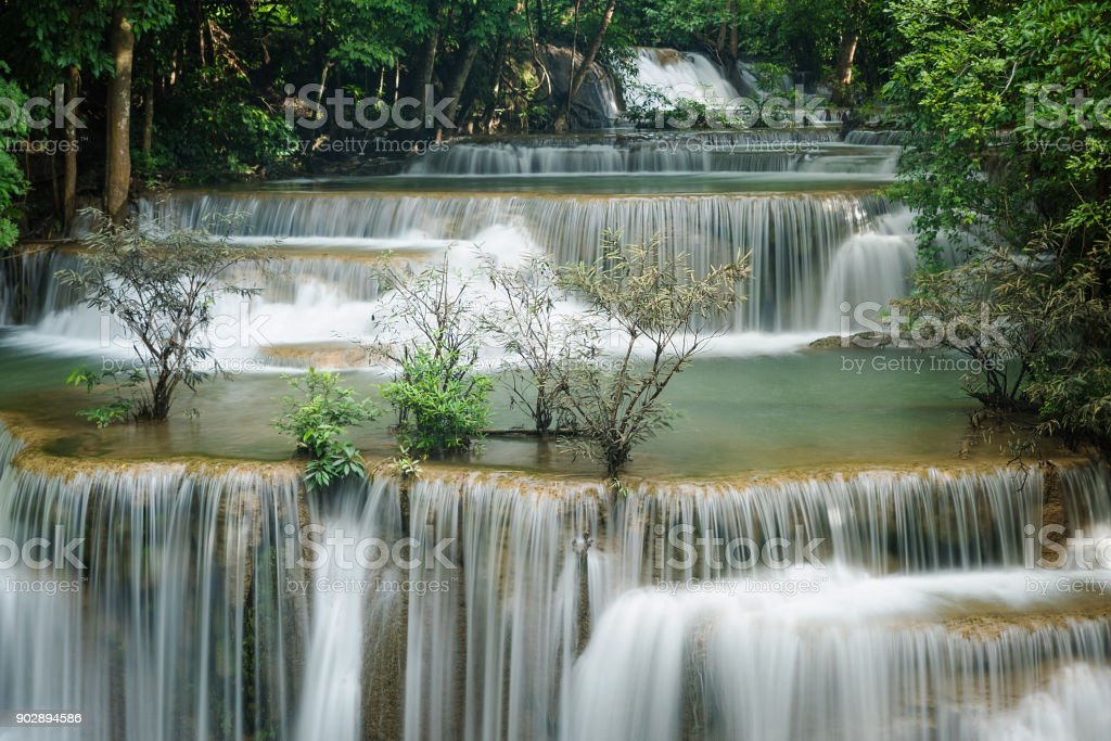 Beautiful and Breathtaking green waterfall, Erawan's waterfall, Located Kanchanaburi Province, Thailand stock photo
